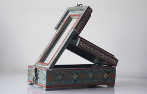 Light blue barber box with floral motifs - open side angled view
