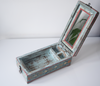 Light blue barber box with floral motifs - fully opened