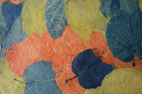 Blue, green and orange handmade paper tablemats-set of 4 or 6