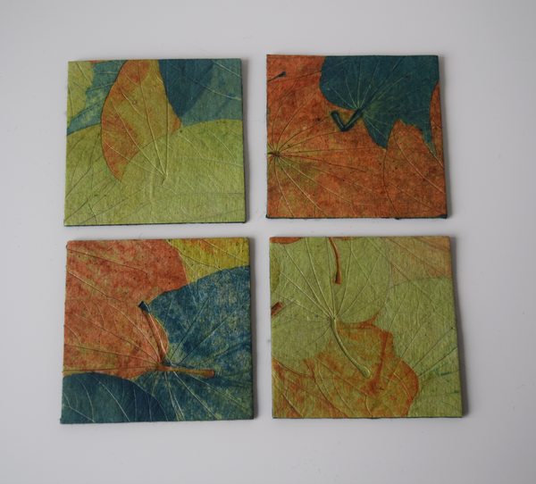 Blue, green and orange handmade paper coasters-set of 4 or 6