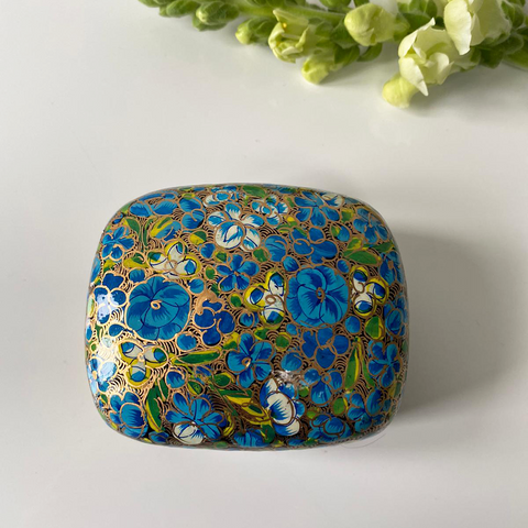 Blue and Green Floral Paper Mache Box- top view