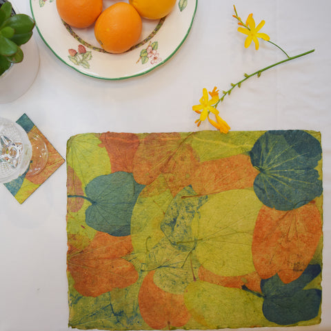 blue, green and orange handmade recycled paper tablemat