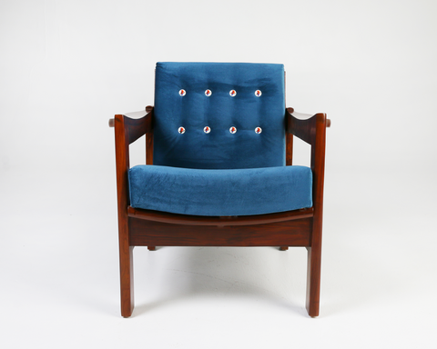 Indian Blue Robbin- Velvet Lounge Chair