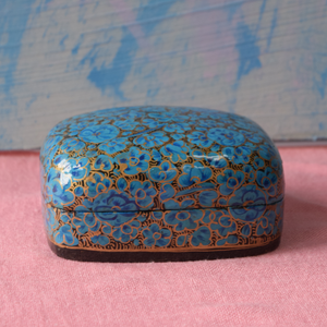 Blue, black and gold Paper Mache Box