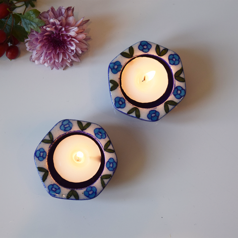 Blue and white tealight holder