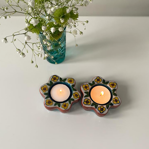 Teal and Brown Floral, Painted Diyas/Tealight holders
