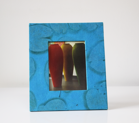 Blue handmade paper picture frame