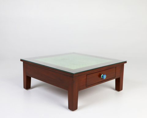 Dark teak wood coffee table, green tile inlay