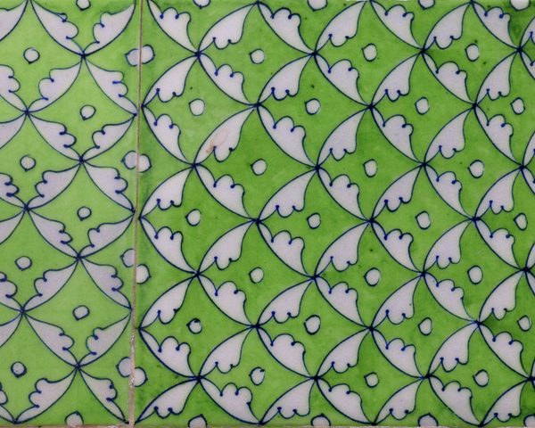 green tile inlay details