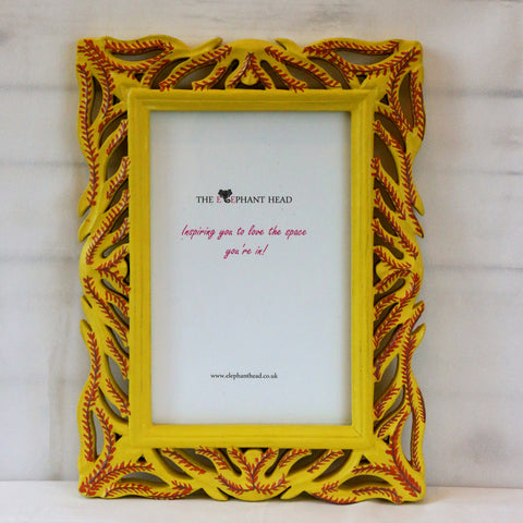 Yellow-Brown fern hand painted picture frame - front view