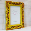 Yellow-Brown fern hand painted picture frame - side view