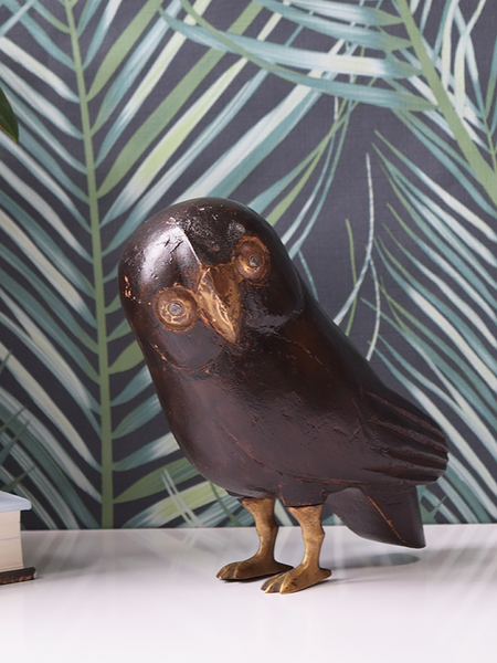 Reclaimed Wood Owl with Brass Legs
