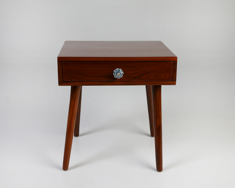 Brown side table, ceramic handle