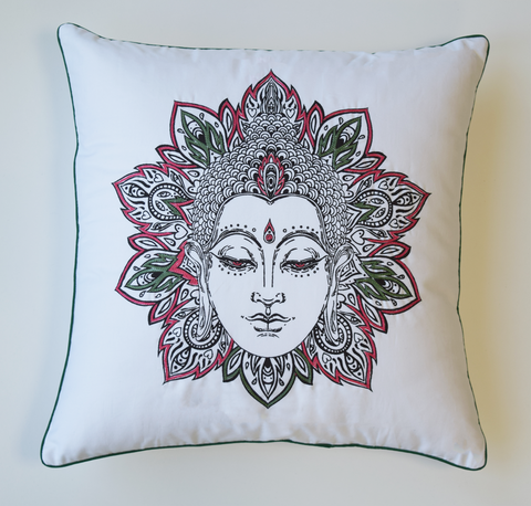 Embroidered Buddha cushion with red and green embroidery