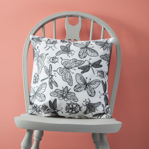 "Bugs and Butterflies, Embroidered Cushion Cover 16"" x 16"""
