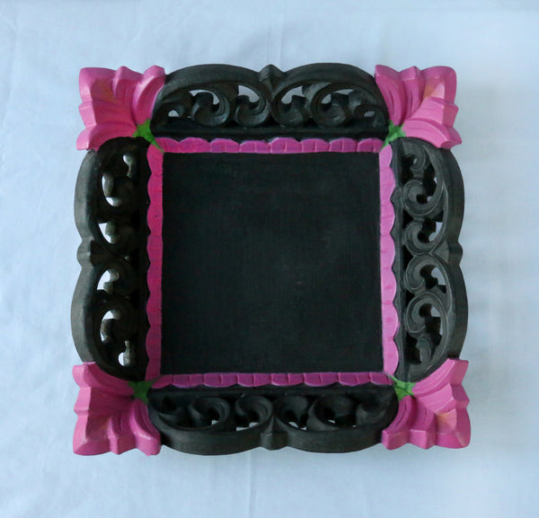 Charcoal and pink tray top view