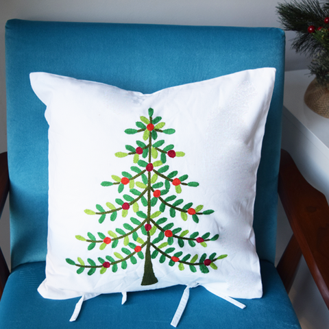 Christmas tree embroidered cushion