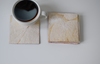 cream heartleaf imprint coasters with coffee cup