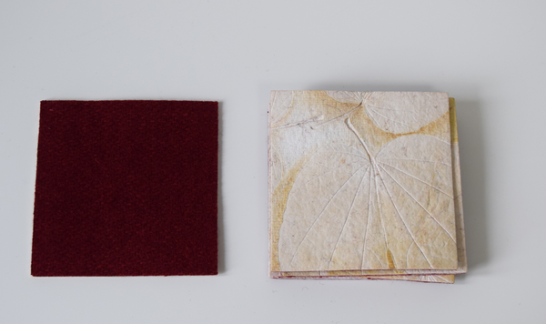 cream heartleaf imprint coasters with felt backing
