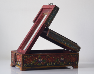 dark red barber box with floral motif - open angled view