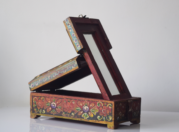 dark red barber box with floral motif- alternate angle