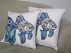 2 Fish embroidered cushions with blue,turquoise and purple embroidery