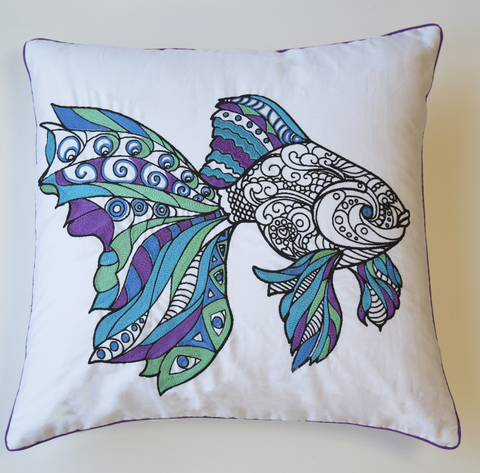 Fish cushion cover in mandala pattern with blue, purple and green embroidery