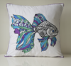 Fish embroidery main image with blue,turquoise and purple embroidery