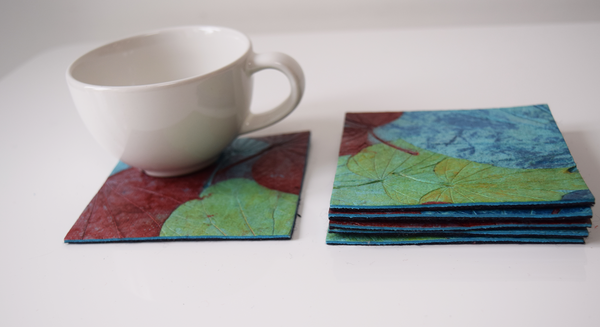 Blue, green and red handmade paper coasters-set of 4 or 6