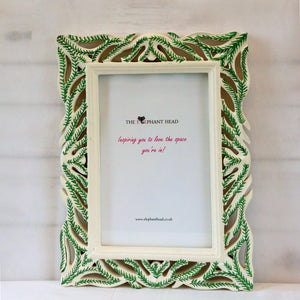 Hand painted green fern picture frame- front view