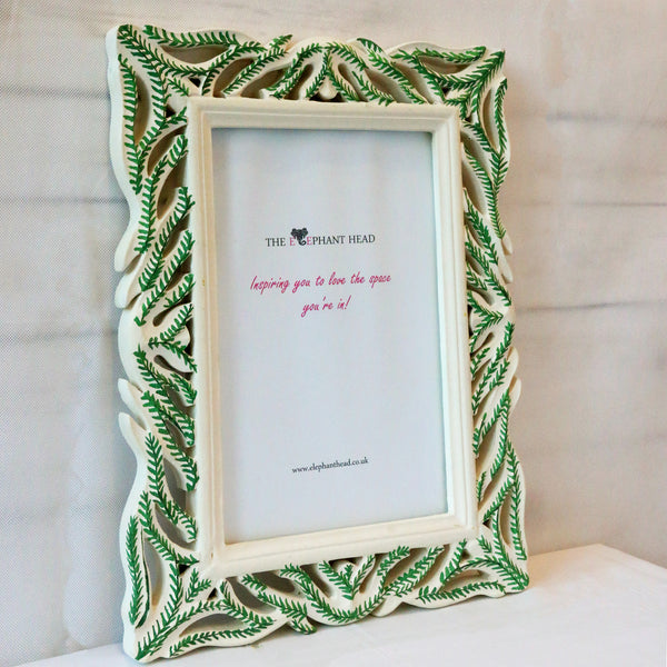 Hand painted green fern picture frame -side view