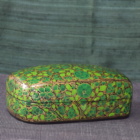 Green floral handpainted paper mache box