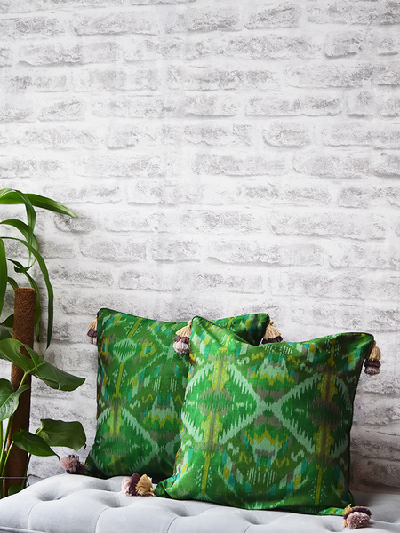 Green Silk Ikat Cushion Covers