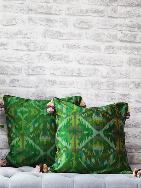 Panna - Green Silk Ikat Cushion Covers