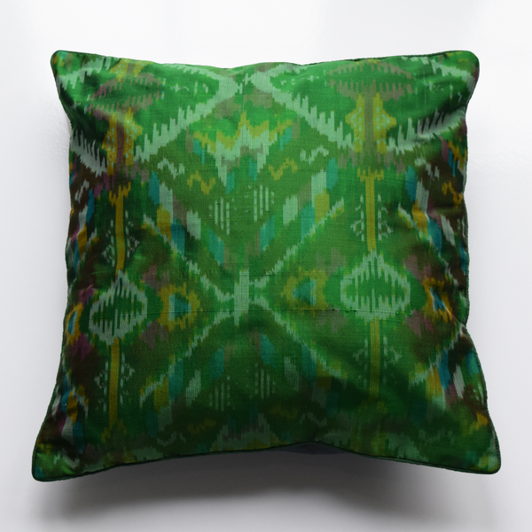 Green Silk Ikat Cushion