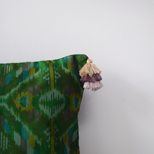 Panna Green Silk Ikat Cushion with tassels