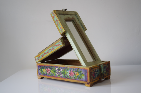 Green barber box with lilac, pink, yellow and white floral motifs-open one way