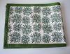 Green floral block printed table runner - 178 cm x 34 cm