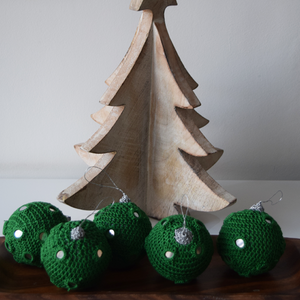 Green Crochet Christmas Baubles with Mirrors