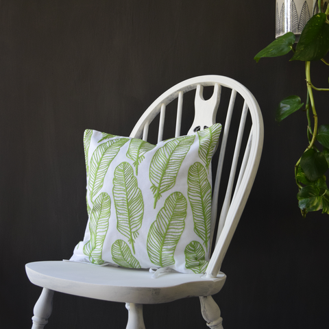 "Green Feathers, Embroidered Cushion Cover 16"" x 16"""