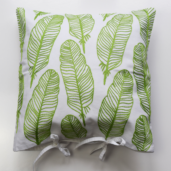 "Green Feathers on white, Embroidered Cushion Cover 16"" x 16"""
