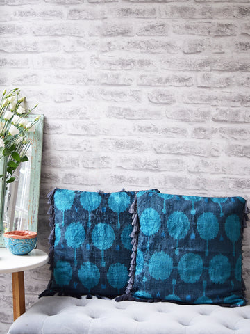Grey and Blue Velvet Silk Ikat Cushion Cover with Grey Tassels