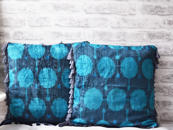 Grey and Blue Velvet Silk Ikat Cushion Covers
