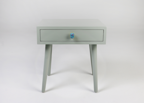 Tota - Grey side table, ceramic bird handle