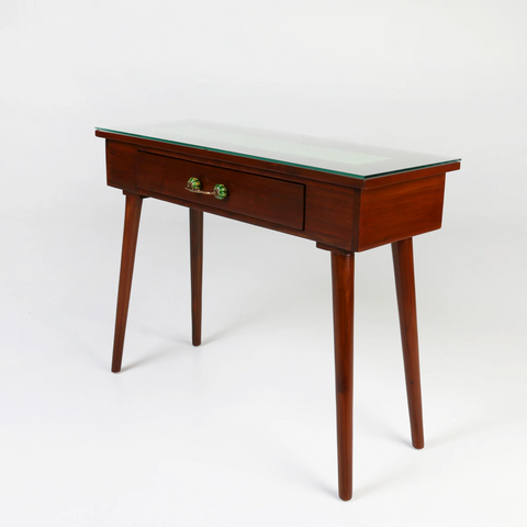 Brown console table with green tile inlay