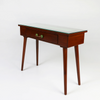Brown console table with green tiled inlay angled view