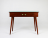 Brown console table with green tiled inlay front view