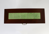 Brown console table with green tiled inlay top view