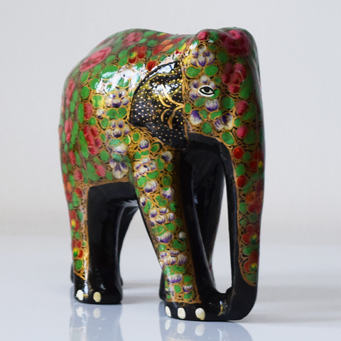 Black Paper Maché Elephant-side view