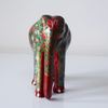Red Paper Mache Elephant with multicoloured floral motifs- front view
